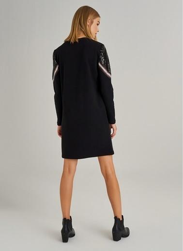 Monamoda Ex Payet Detaylı Sweat Elbise Siyah